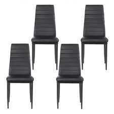 Set of 4 Dining Chairs Upholstered Stripes Long Leather Backrest Comfortable