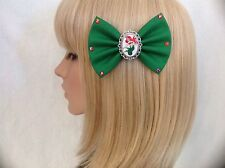 Ariel the little mermaid hair bow clip rockabilly pin up disney green red
