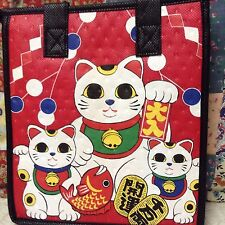 Insulated  Lunch Bag,Baby Bottles, , Gift Bags 9X8X6 Red Maneki Neko.