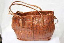 Bag Shopper Bag Large Real Leather Cognac Brown with Design Italy 73054