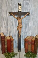 Antique German Large Carved Wood Crucifix Jesus Cross Religious Wall Mount 25""