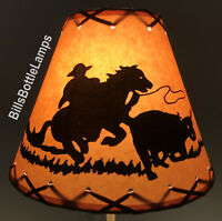"Cowboy & Horse Table Light Cabin Cottage LAMP SHADE Clip-On Bulb 9"" X-Laced Cone"