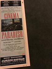 1990 Vintage Movie Promo Color Print Ad 4X11.75 For Cinema Paradiso Oscar Winner