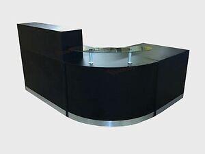 BLACK RECEPTION DESK CURVED GLASS UNIT ALUMINIUM PLINTH OFFICE RECEPTION DESK