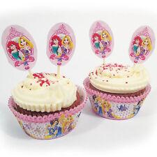 48 Piece Disney Princess Sparkle Style Party Cupcake Paper Cases Decorating Kit
