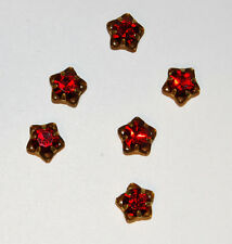 VINTAGE RHINESTONE RUBY RED SWAROVSKI ELEMENTS STAR DANGLE BEAD 8mm