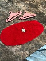 Susy Suzy Goose Barbie Vintage Vanity Red Fuzzy Rug And Two Pink Hangers