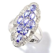 Sterling Silver 2.06ctw Tanzanite & Diamond Elongated Cocktail Ring, Size 7