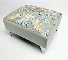 Footstool pouffe William Morris Slate Strawberry thief Metal Legs British made