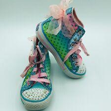 Sketchers Girls High Top Ribbon Lace Twinkle Toe Sneakers Size 11