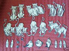 Tim Holtz Crazy Gato Estampado Die Cortes y 3 Mini Crazy Birds -