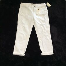 Lucky Brand Womens White Sienna Slim Boyfriend Distressed Jeans Ankle Size 10