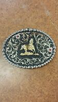 Montana Silversmiths Floral Western Belt Buckle with Galloping Horse