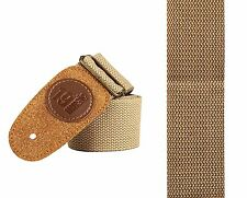 BROWN BEIGE guitar strap leather head style jazz semi acoustic electric (1509)