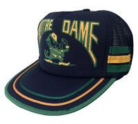 Notre Dame 3 Three Stripe Mesh Foam Trucker Hat Snapback Hat Baseball Cap vtg