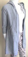 sweatshirt hoodie jacket Norma Kamali top 3/4 sleeve gray cotton blend XS-VGUC