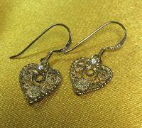 Vintage Antique Fine Sterling Silver/Clear Stone Filigree Dangling Earrings