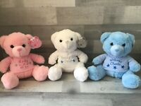Personalised Embroidered teddy bears. Pink, blue, white 25cm keepsake, new baby