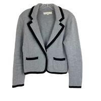 Loft Womens Size Medium Gray Black Knit Stretch Blazer Jacket Career Work Office