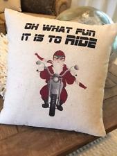 Biker Santa Christmas Pillow Xmas Gift santa biker motorcycle vintage holiday