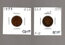 1898, 1899 US Indian Head cents