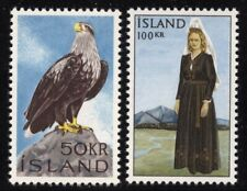 Iceland 1965 50K Eagle & 100K Native Woman set Sc# 378-79 NH