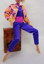Blue jumper with belt Large yellow floral jacket Barbie/ Sindy Doll