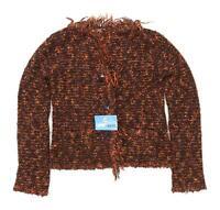 Marlene Po Womens Size 12 Textured Cotton Brown Cardigan (Regular)