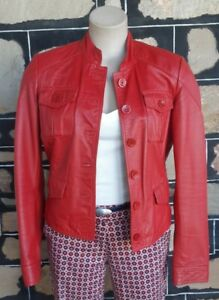 Leather bomber jacket, Red, by 'Vera Pelle' Made in Italy, size 10