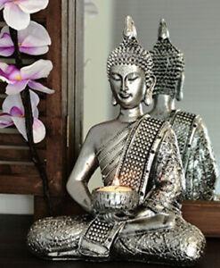 Ex Large Vintage Silver Buddha Diamante Tea Light Votive Candle Holder Ornament