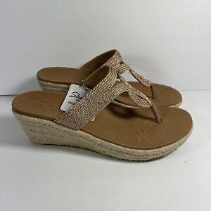 Skechers Luxe Foam Slides Wedge Heel Sandals Women's Size 9 Gold
