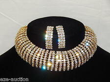 Bridal Wedding 10 Row Clear Rhinestone Arch Gold Choker Necklace, Earrings Set