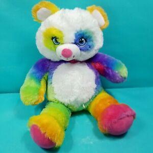 "Build a Bear Plush Blue Green Pink Rainbow Panda Teddy Plush Stuffed Animal 16"""