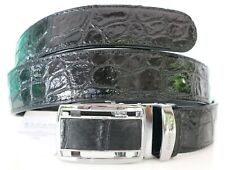 100% BELLY SKIN GENUINE CROCODILE LEATHER MEN'S BELT SHINY BLACK SOFT Sz 35 NEW