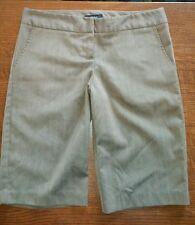 Zinc women's brown pinstripe Capri stretch pant dress shorts size jr 3 (c4)