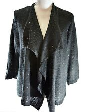 Avenue Black draping shrug fly away top sequence Cardigan sweater Size 14 16 NWT