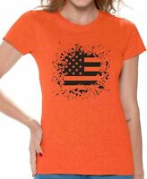 USA Flag Women's T shirt Tops Black and White Patriotic 4th of July