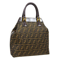 FENDI Zucca Pattern 2way Hand Tote Bag Brown Canvas Leather Vintage AK46308