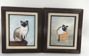 2 OIL PAINTINGS OF SIAMESE CAT ON CANVAS, FRAMED