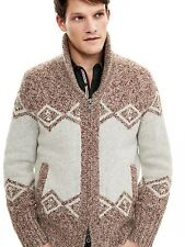 NWT Banana Republic Brown Heritage Shawl Front Zip Sweater Jacket  SIZE L