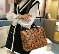 Luxury Hand Shoulder Tote Bag For Women Snake Skin Pattern Faux Leather Material