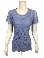 Isaac Mizrahi Women's Floral Lace Short Sleeve Peplum Top Purple Small Size