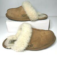 UGG Australia Women Tan Suede Cream Sherpa Warm Fuzzy Slippers Slip On Size 6