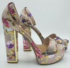 Bamboo Ankle Strap High Heel Platform Pumps Chunky Floral Metallic Pink Size 9