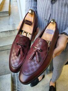 Handmade Men's Genuine Burgundy Leather Loafer Moccasin Slip on Tassels Shoes