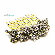 Bridal Wedding Vintage Gold Leaf Crystal Diamante Hair Comb Slide HC42