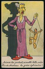 Misogyny chicken humor play puppet man risque theme original c1910s postcard