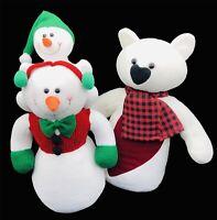 "Set Of 2 Snowmen 16"" Plush Holiday Snowmen Toy Winter Christmas Decor"