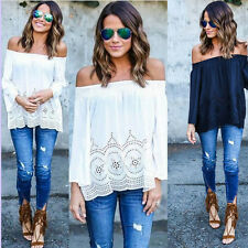 Womens Off Shoulder Lace Floral Blouse Casual Loose Strapless T-Shirt Top Shirts