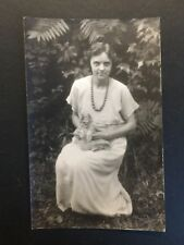 Antique REAL PHOTO POSTCARD c1910-30 Woman Holding Kitten Cat (20373)